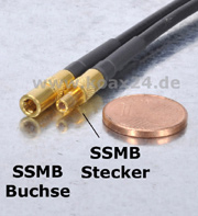 SSMB-Stecker und SSMB-Stecker im Größenvergleich